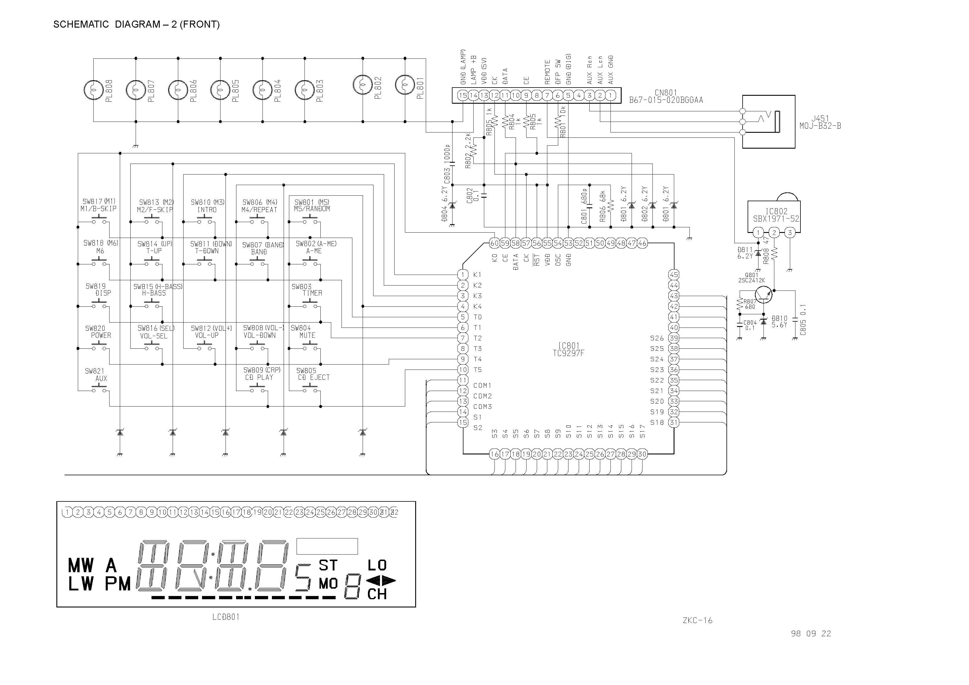 Aiwa Cdc-x1400 Schematic Diagram Main    Front In Pdf Format
