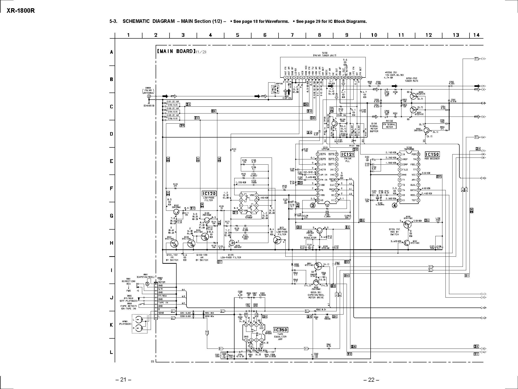 sony xr-1800r schematic diagram in pdf format